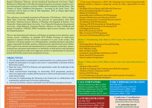 Revises Brochure of International Conference on Early Childhood Development